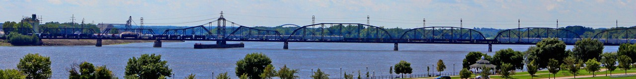 Banner image of the Arsenal Bridge across the Mississippi River